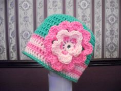 Child Neon Lime Green and Pink Flower Beanie by MarlowsGiftCottage, $18.00