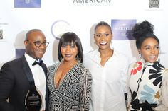 Oscar winner, director Barry Jenkins proudly shows off his ABFI Award as Angela Basett, Issa Rae and Janelle Monae assure him it would soon be joined by an Academy Award, and they were right!