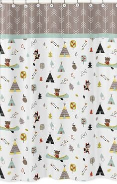 Outdoor Adventure Shower Curtain by #SweetJojoDesigns features foxes, arrows, canoes, teepees and bears oh my! Simple Bathroom, Modern Bathroom Design, Bathroom Interior Design, Neutral Bathroom, Bathroom Colors, Yellow Bathrooms, Modern Fabric, Teepees, Canoes