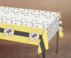 "Bee Theme Party Printed Plastic Tablecover, One Size, 54"" x 108"""