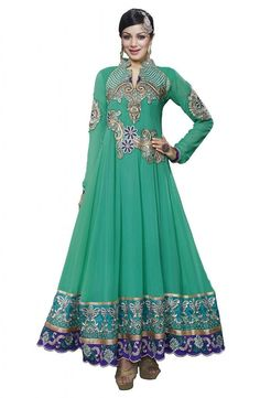 Prafful Green Beautiful Anarkali Salwar-suit: Clothing &; Accessories for more visit @ http://indianfashionhub.wordpress.com/2014/08/23/factors-to-consider-when-you-purchase-womens-salwar-suits-online/