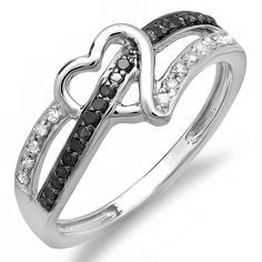 0.20 Carat (ctw) 10k Gold Round Black and White Diamond Ladies Promise Heart Love Engagement Ring 1/5 CT ** See this great image  : Engagement Rings Jewelry