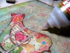 mixed media canvas birds | 18. Now this is really fun! Trace over your birdcage lines with the ...