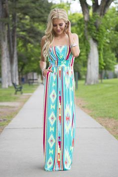 Electric Aztec Strapless Maxi Dress