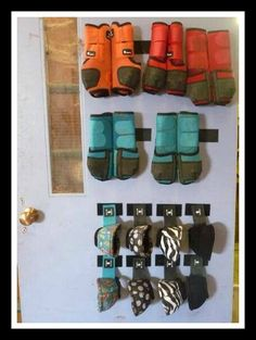 "I wanted to share with you all a very practical and ingenious storage tip for horse boots that I just came across.  It's brilliant!  I'm totally having a ""why didn't I think…"