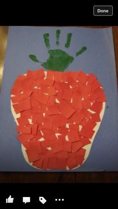 apple unit. red paper & hand print.