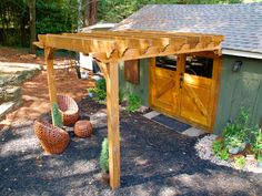 An Attic and a Shed are Converted to Great Living Spaces : Home Improvement : DIY Network Backyard Sheds, Backyard Retreat, Diy Pergola, Pergola Kits, Outdoor Seating, Outdoor Decor, Outdoor Rooms, Small Woodworking Projects, Potting Sheds