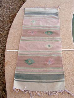 Vintage Zapotec Mexican Rug / Earth Tones Rose Pink Grey Rug / Southwestern Indian Rug / 55 x 23 Rug / Native American Tribal Decor