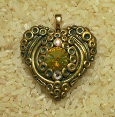 Victorian style heart pendant polymer clay with large Swarovski Rivoli crystal
