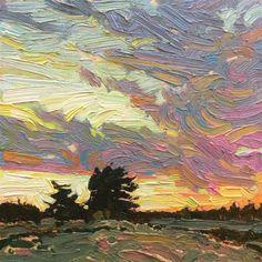 "Daily Paintworks - ""Evening Field: 6x6 oil on panel"" - Original Fine Art for Sale - © Ken Faulks"