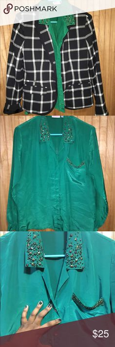 Vintage Embellished Green Top Sz 8 Very cute and blingy long-sleeve satin-like green too. It has hidden buttons on the front and sleeves with a button cuff. The collar and front pocket is embellished with stones and beads. Super cute with blazer or with a skirt or pants. This is a Vintage item from Avon. Tiny spot shown in last pic that is hardly noticeable. A few beads loose, but none missing. Such a cute top! EUC. Size 7/8 Vintage Tops Blouses
