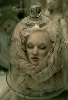 doll head in glass cloche - spooky | doll head in glass cloche - spooky / halloween time! - Juxtapost