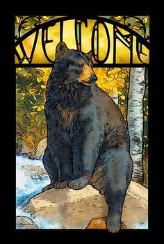 "Brighten your home or cabin with this stunning framed wallhanging. This beautiful stained glass welcome sign features a black bear printed with fade resistant inks. Framed in 1"""" black-finished mouldi"