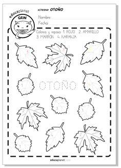 Durante el otoño caen las hojas de muchos árboles. En esta ficha para preescolar coloreamos, repasamos letras y aprendemos números.