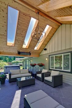 Outdoor patio with skylights - www.skylarshomeandpatio.com #patio #furniture