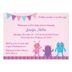 Girl Monster Baby Shower Invitation