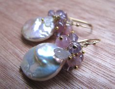 Anemone Pearl Moonstone TourmalineAmethyst Earrings by Floralina