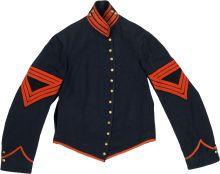 Military & Patriotic:Civil War, Fine Artilleryman's Jacket with Rare Quartermaster SergeantChevrons. This excellent example of the regulation shell jacket ...