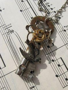 Vintage Skeleton Key Rustic Elegance Pendant Necklace