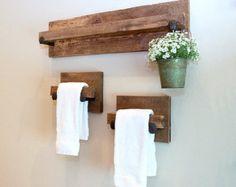 Rustic Wood Towel Rack Large reclaimed towel by TumbleweedCabin