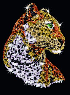 Sequin art lion craft kit things wendy would like pinterest sequin art leopard craft kit solutioingenieria Gallery
