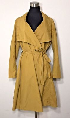 Eileen Fisher Trench Coat Cascade Collar Parka Arnica Double Breasted Womens XL #EileenFisher #Raincoat #Casual