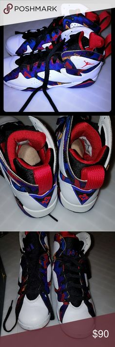 Air Jordan  retro 7 retro Size 6y from kids foot locker . A little to big for me. Worn less than 5 Times. A little bruising in the front . Shoe cleaner can fix this . Other than that great condition. Orginal wrappimg paper ... and box and in shoe cardboard still with thr shoes. Laces are perfect. Original price for these is still 140 and up. Jordan Shoes Sneakers