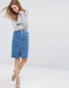 Image 1 ofASOS Denim Pencil Skirt in Mid Wash Blue