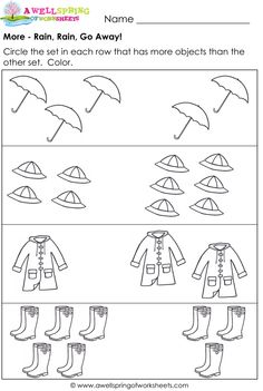 More and Less Worksheets - Compare Numbers / Compare Sets