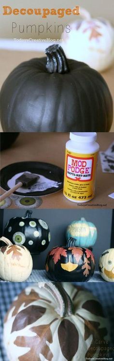 No Carve Pumpkins | Halloween | Decoupaged Pumpkins | Mod Podge | TodaysCreativeBlog.net