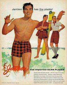 Vintage Jantzen Swimsuit Ad - men's Clan (Tartan) plaid bathing suits / swimwear.