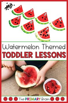 Watermelon toddler activities are perfect for toddler summer fun! These watermelon themed toddler lesson plans include everything you need for a week of toddler crafts, toddler sensory bins, fine motor skills, gross motor activities, and toddler math activities. Have fun with your 2 to 3 year old child as you explore watermelons through engaging toddler curriculum. Watermelon Activities, Summer Preschool Activities, Gross Motor Activities, Toddler Activities, Math Activities, Preschool Ideas, Lesson Plans For Toddlers, Preschool Lesson Plans, Toddler Sensory Bins