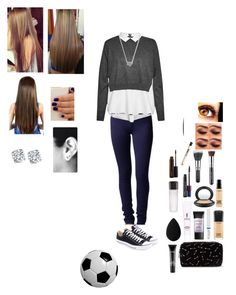 """""""School Girl #1"""" by sofunny94 ❤ liked on Polyvore featuring Dorothy Perkins, Uniqlo, French Connection, Converse, Forever 21, Yves Saint Laurent, Smashbox, MAC Cosmetics and beautyblender"""