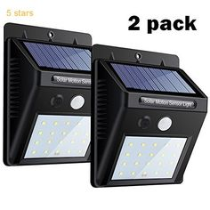 Solar Lights 2 PACK 20 LEDs Motion Sensor Wall Light by USTONE Bright Security Night Lights Auto On / Off  Waterproof Wireless Solar Power Spotlight for Tree Patio Yard Garden Driveway Stairs Pool Area