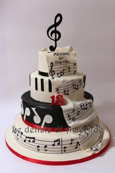 Torte a tema Music Birthday Cakes, Music Themed Cakes, Music Cakes, Fondant Cakes, Cupcake Cakes, Cupcakes, Bolo Musical, Piano Cakes, Bithday Cake