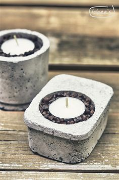concrete: mit Platz für Deko (z.B. Kaffeebohnen) Konservendose als Gießform?