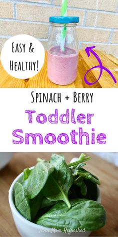 Toddler Smoothie Recipes, Baby Smoothies, Spinach Smoothie Recipes, Toddler Smoothies, Smoothies For Kids, Healthy Toddler Breakfast, Healthy Baby Food, Healthy Toddler Meals, Healthy Meals For Kids