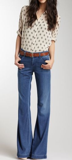 Flared jeans and a blouse