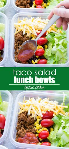 Eating Meals Prep Meal Prep Taco Salad Lunch Bowls that you can make ahead! These easy taco salads are filled with taco beef, lettuce, cheese, black beans, corn and salsa! Sub chicken in this healthy recipe or leave out the meat for vegetarian meal prep. Vegetarian Meal Prep, Vegetarian Recipes, Healthy Recipes, Meal Prep For Vegetarians, Lunch Snacks, Lunch Recipes, Salads For Lunch, Meal Prep Recipes, Salad Recipes