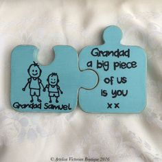 Memory Keepsake, Jigsaw Puzzle Pieces, Personalised Family Gift, Childrens… (This is also how kids can draw on blank puzzle pieces to connect them together when they're creating their own puzzles. It's an easy way to find the piece that fits!)