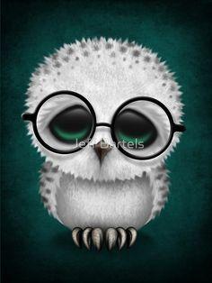 Cute Baby Snowy Owl Wearing Glasses on Teal Blue | Jeff Bartels