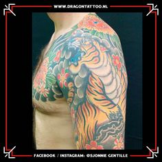 Japanese color tiger sleeve with chest panel. Designed and Tattooed by: Sjonnie Gentille Dragon Tattoo. Japanese Colors, Dad Tattoos, Religious Images, Chicano, Top Artists, Dragon, Sleeves, Design, Father Tattoos