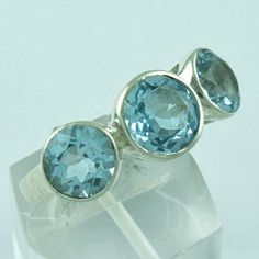 925 STERLING SILVER HANDMADE RING BLUE TOPAZ STONE JEWELRY S.7.5 US R2090 #SilvexImagesIndiaPvtLtd #Statement