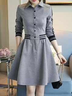#BFCM #CyberMonday #PopJulia - #PopJulia Gray Buttoned Casual Shirt Collar Long Sleeve Dress - AdoreWe.com