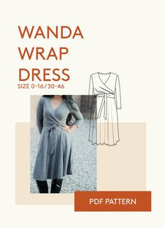 Wanda Wrap dress fitted jersey dress PDF sewing pattern is a figure hugging feminine jersey wrap dress. The six gored skirt has a full sweep. Sizes 0-24 / 30-54