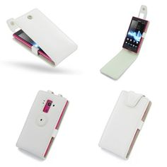 PDair Leather Case for Sony Xperia Acro S LT26W - Horizontal Pouch Type (White)