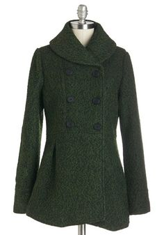 Forest Train Home Coat by Pink Martini - Long, Woven, Green, Black, Solid, Buttons, Double Breasted, Long Sleeve, Fall, Winter, 2