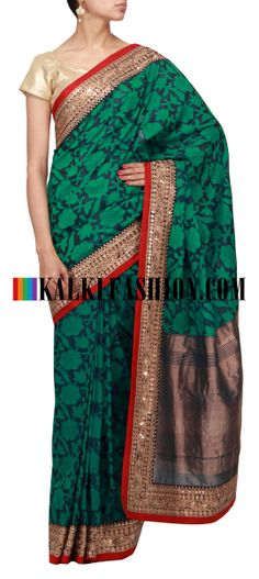 Buy Online from the link below. We ship worldwide (Free Shipping over US$100) http://www.kalkifashion.com/blue-upada-silk-saree-with-embroidered-border.html Blue upada silk saree with embroidered border