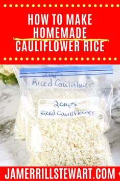 Cauliflower rice is a staple in any low carb lifestyle. You can easily make it at home and freeze it for later use at a great price. Roasted Cauliflower, Cauliflower Recipes, Cauliflower Rice, Low Calorie Recipes, Keto Recipes, Soup Recipes, Vegetarian Recipes, Chicken Recipes, Dinner Recipes