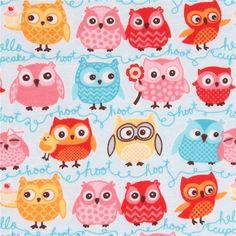 http://www.kawaiifabric.com/en/p11227-light-blue-cute-colorful-owl-design-knit-fabric-Riley-Blake-Tree-Party.html